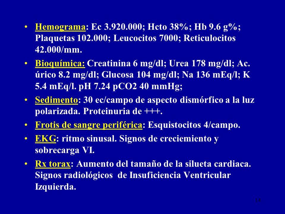 14 Hemograma: Ec 3.920.000; Hcto 38%; Hb 9.6 g%; Plaquetas 102.000; Leucocitos 7000; Reticulocitos 42.000/mm. Bioquímica: Creatinina 6 mg/dl; Urea 178