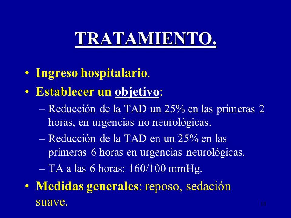 18 TRATAMIENTO. Ingreso hospitalario. Establecer un objetivo: –Reducción de la TAD un 25% en las primeras 2 horas, en urgencias no neurológicas. –Redu