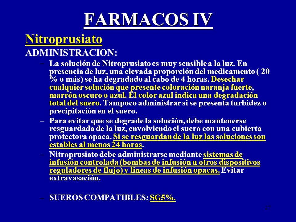 27 FARMACOS IV Nitroprusiato ADMINISTRACION: –La solución de Nitroprusiato es muy sensible a la luz. En presencia de luz, una elevada proporción del m