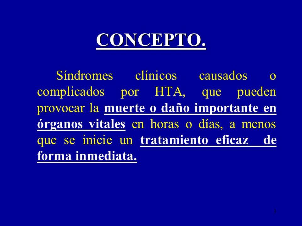 3 CONCEPTO. Síndromes clínicos causados o complicados por HTA, que pueden provocar la muerte o daño importante en órganos vitales en horas o días, a m