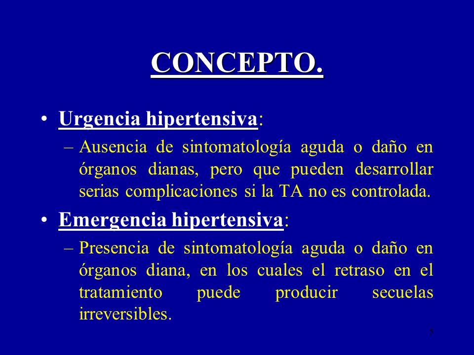 5 CONCEPTO. Urgencia hipertensiva: –Ausencia de sintomatología aguda o daño en órganos dianas, pero que pueden desarrollar serias complicaciones si la