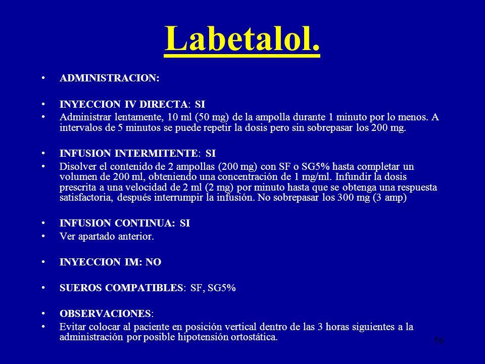 56 Labetalol. ADMINISTRACION: INYECCION IV DIRECTA: SI Administrar lentamente, 10 ml (50 mg) de la ampolla durante 1 minuto por lo menos. A intervalos