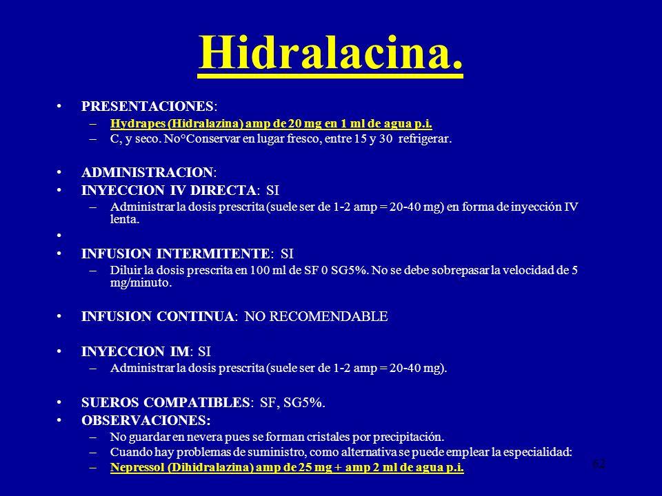 62 Hidralacina. PRESENTACIONES: –Hydrapes (Hidralazina) amp de 20 mg en 1 ml de agua p.i. –C, y seco. No°Conservar en lugar fresco, entre 15 y 30 refr