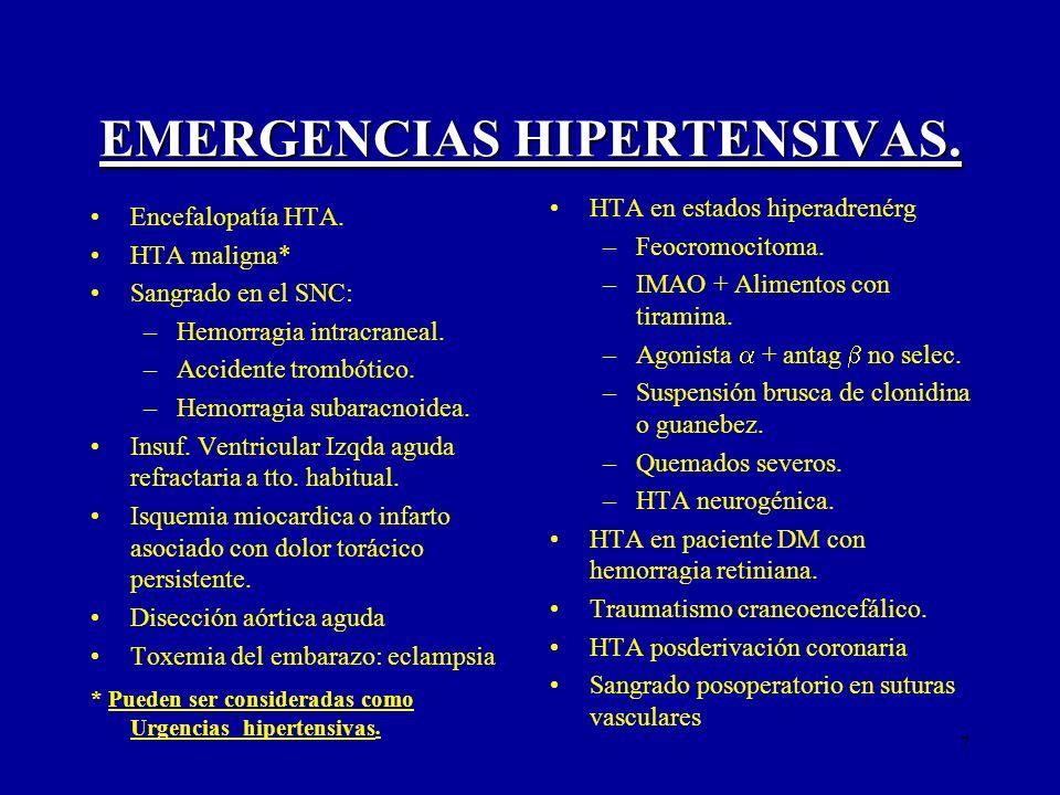 7 EMERGENCIAS HIPERTENSIVAS. Encefalopatía HTA. HTA maligna* Sangrado en el SNC: –Hemorragia intracraneal. –Accidente trombótico. –Hemorragia subaracn