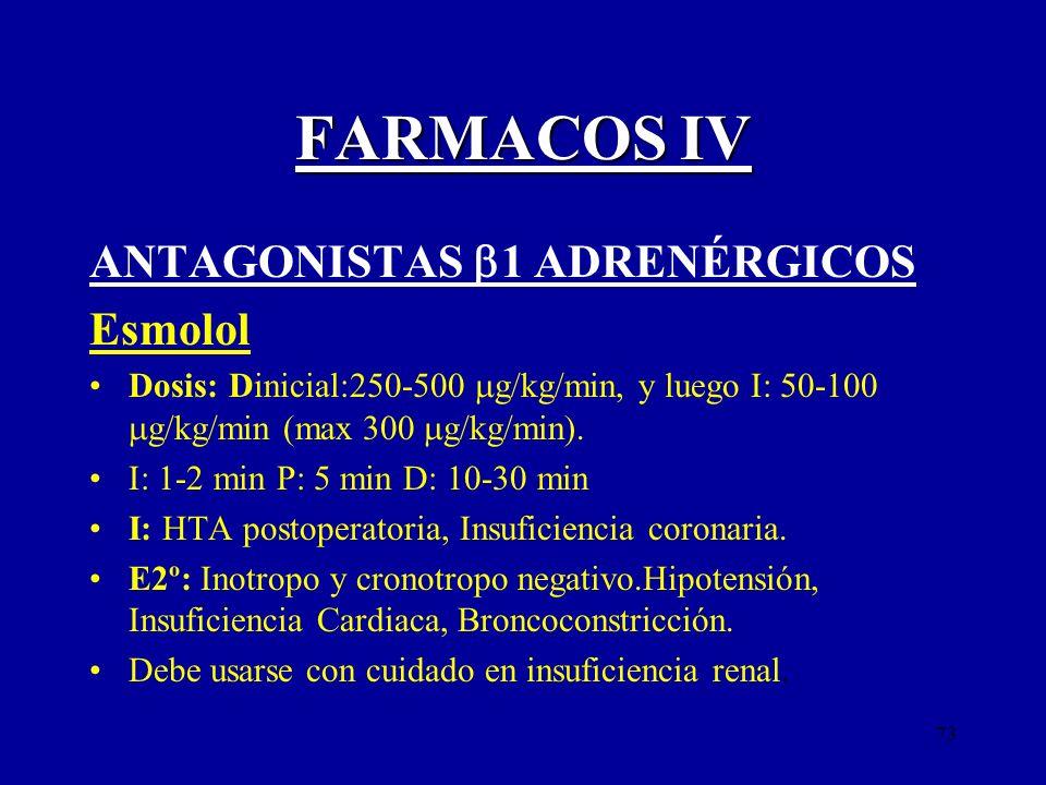 73 FARMACOS IV ANTAGONISTAS 1 ADRENÉRGICOS Esmolol Dosis: Dinicial:250-500 g/kg/min, y luego I: 50-100 g/kg/min (max 300 g/kg/min). I: 1-2 min P: 5 mi
