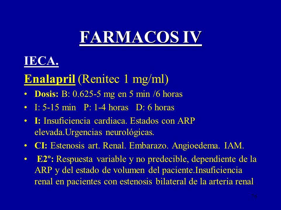 76 FARMACOS IV IECA. Enalapril (Renitec 1 mg/ml) Dosis: B: 0.625-5 mg en 5 min /6 horas I: 5-15 min P: 1-4 horas D: 6 horas I: Insuficiencia cardiaca.