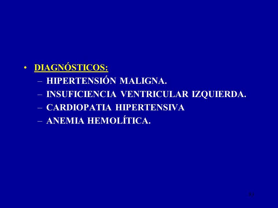 83 DIAGNÓSTICOS: –HIPERTENSIÓN MALIGNA. –INSUFICIENCIA VENTRICULAR IZQUIERDA. –CARDIOPATIA HIPERTENSIVA –ANEMIA HEMOLÍTICA.