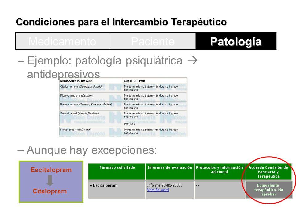 Condiciones para el Intercambio Terapéutico MedicamentoPacientePatología –Ejemplo: patología psiquiátrica antidepresivos –Aunque hay excepciones: Esci