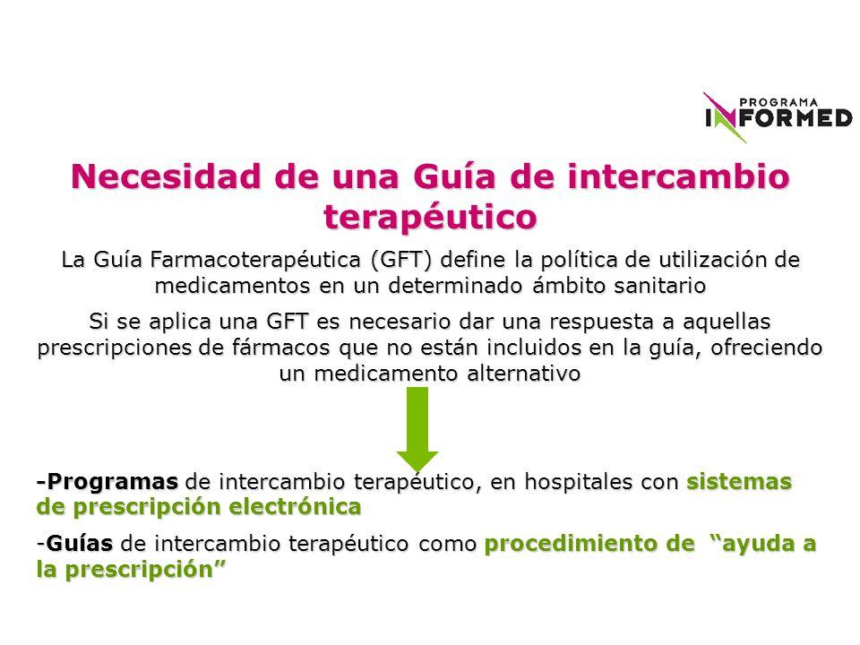 Necesidad de una Guía de intercambio terapéutico La Guía Farmacoterapéutica (GFT) define la política de utilización de medicamentos en un determinado