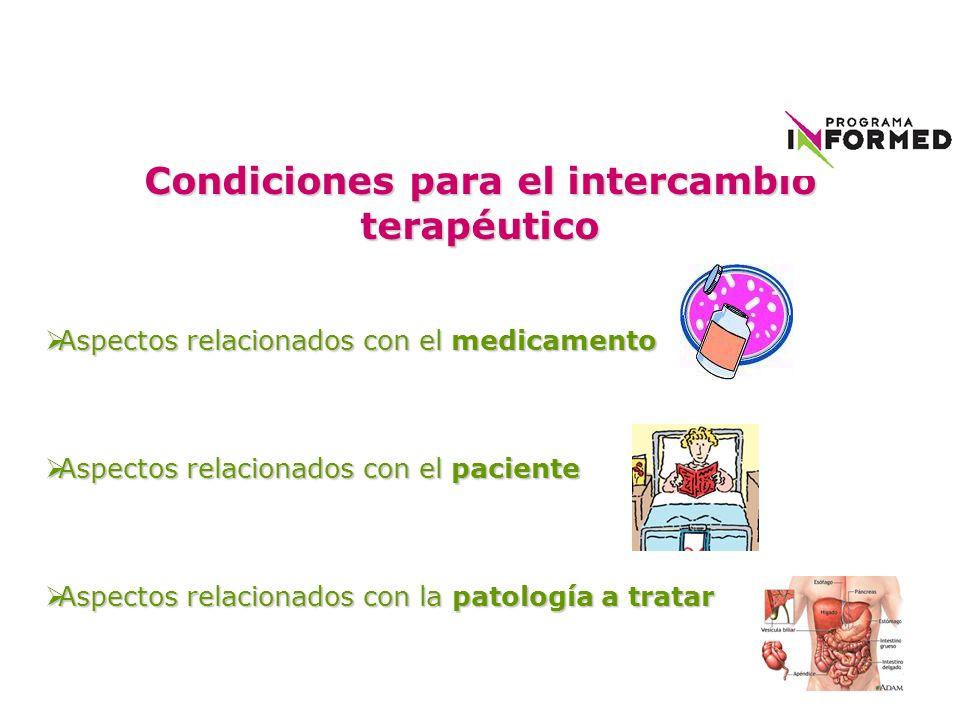 Condiciones para el intercambio terapéutico Aspectos relacionados con el medicamento Aspectos relacionados con el medicamento Aspectos relacionados co