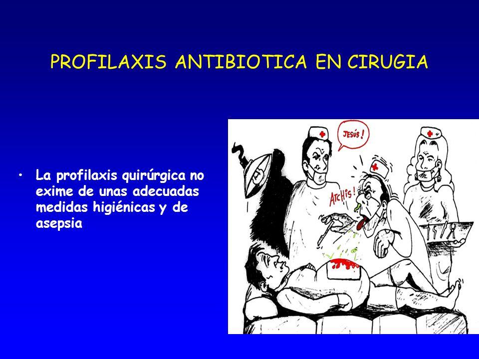 PROFILAXIS ANTIBIOTICA EN CIRUGIA La desinfección no elimina todos los patógenos de la piel. La profilaxis antibiótica llega a los reservorios donde s