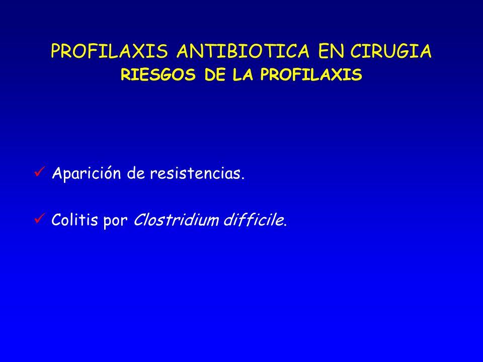 PROFILAXIS ANTIBIOTICA EN CIRUGIA BENEFICIOS DE LA PROFILAXIS Disminución de la mortalidad. INFECCIOSA Disminución de la morbilidad. Disminución de la