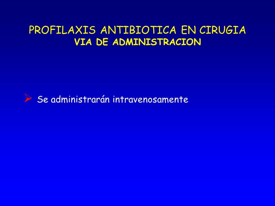 PROFILAXIS ANTIBIOTICA EN CIRUGIA DOSIS La dosis profiláctica debe ser idéntica a la terapéutica