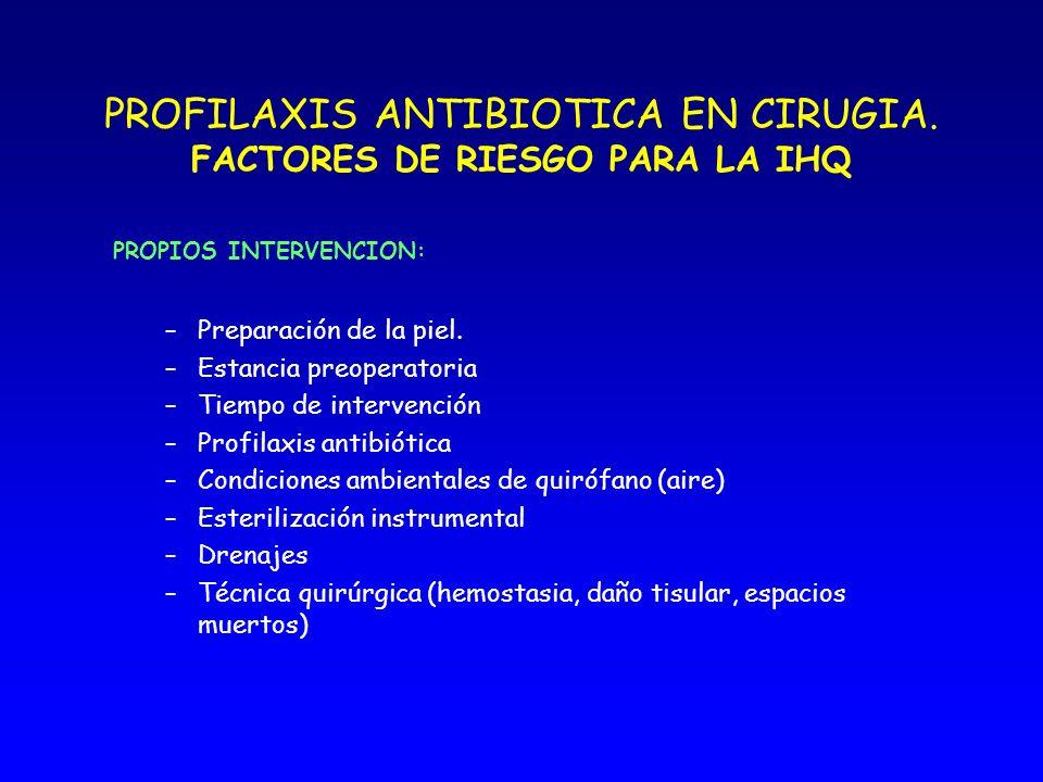 PROFILAXIS ANTIBIOTICA EN CIRUGIA ELECCION DEL ANTIBIOTICO El antibiótico tiene que cubrir los patógenos más frecuentes.
