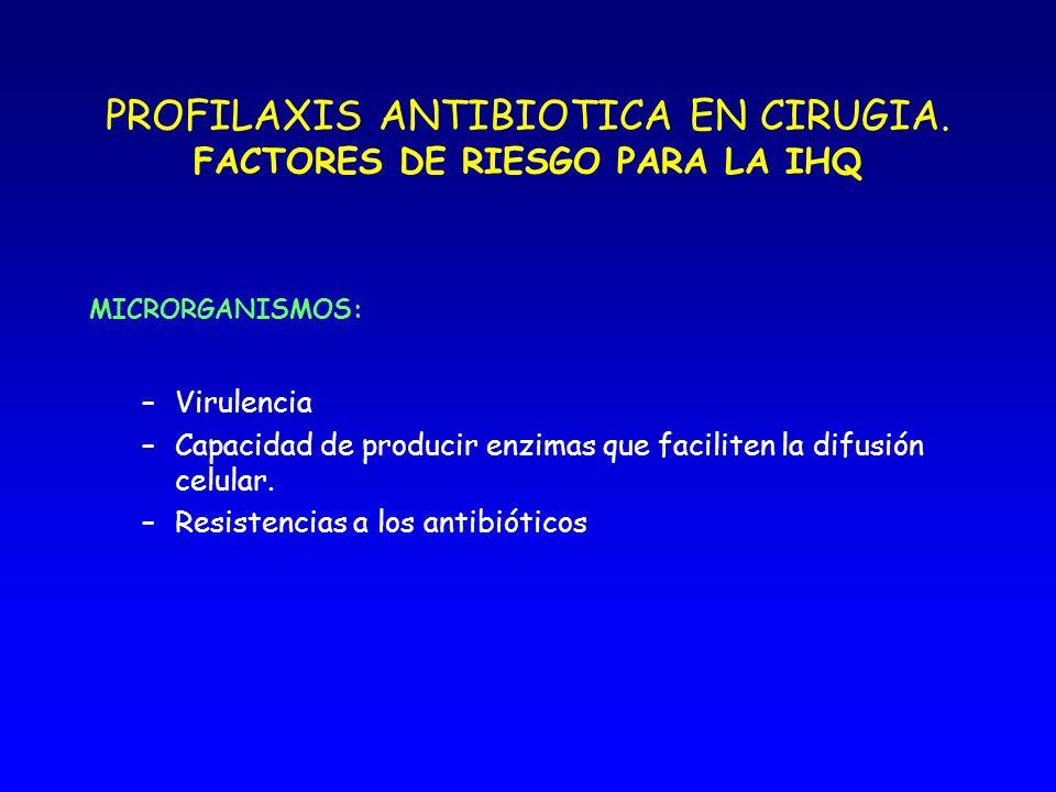 PROFILAXIS ANTIBIOTICA EN CIRUGIA CRITERIOS EVALUACION PROTOCOLO PROFILAXIS Indicación o no de la profilaxis Antibiótico utilizado Momento de la administración Dosis Vía de administración Duración de la profilaxis