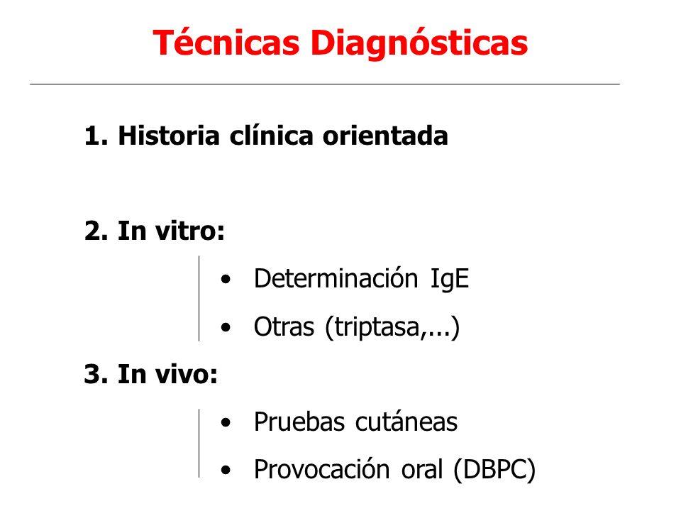 Técnicas Diagnósticas 1.Historia clínica orientada 2.In vitro: Determinación IgE Otras (triptasa,...) 3.In vivo: Pruebas cutáneas Provocación oral (DB