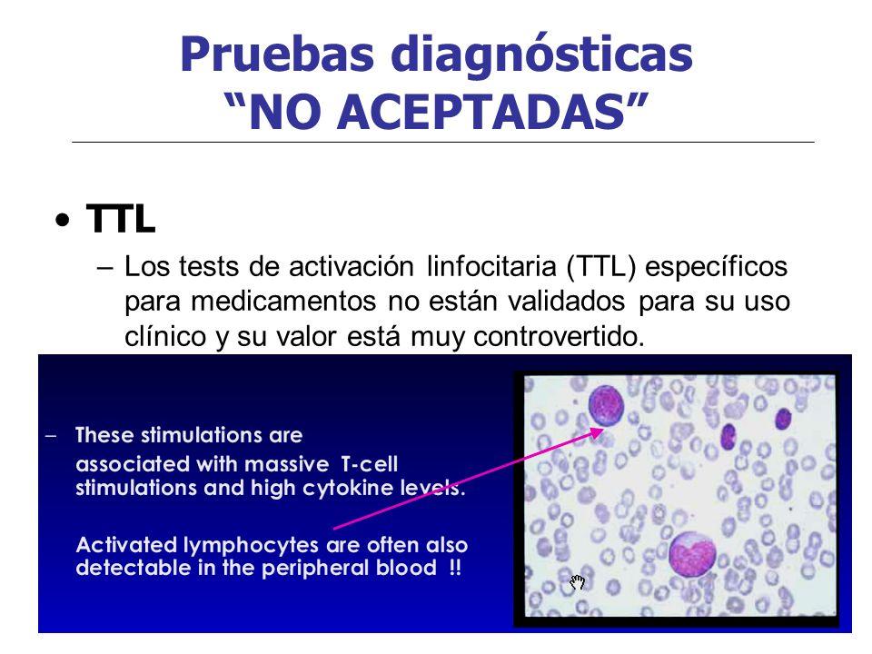 Pruebas diagnósticas NO ACEPTADAS TTL –Los tests de activación linfocitaria (TTL) específicos para medicamentos no están validados para su uso clínico