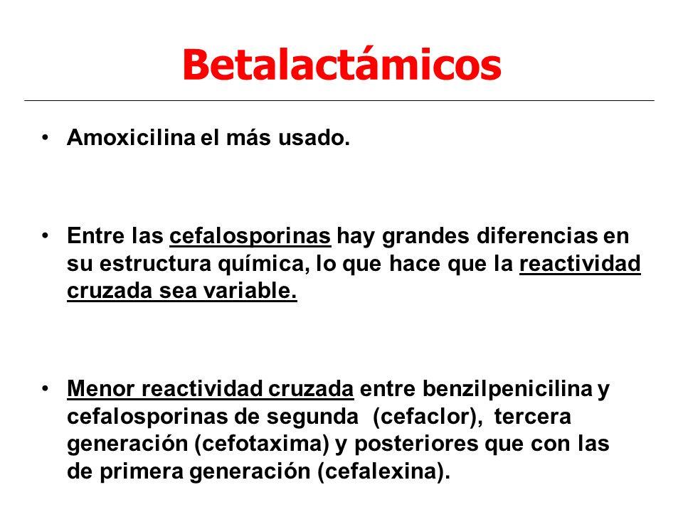 Betalactámicos Amoxicilina el más usado. Entre las cefalosporinas hay grandes diferencias en su estructura química, lo que hace que la reactividad cru