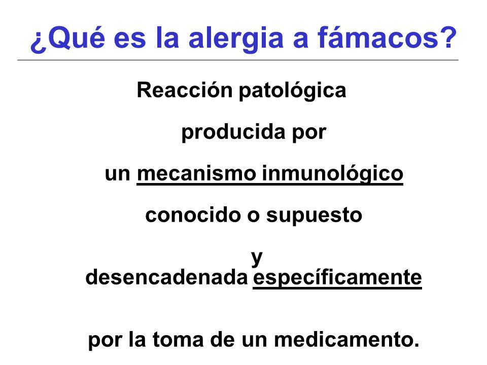 ¿Qué es la alergia a fámacos? Reacción patológica producida por un mecanismo inmunológico conocido o supuesto y desencadenada específicamente por la t