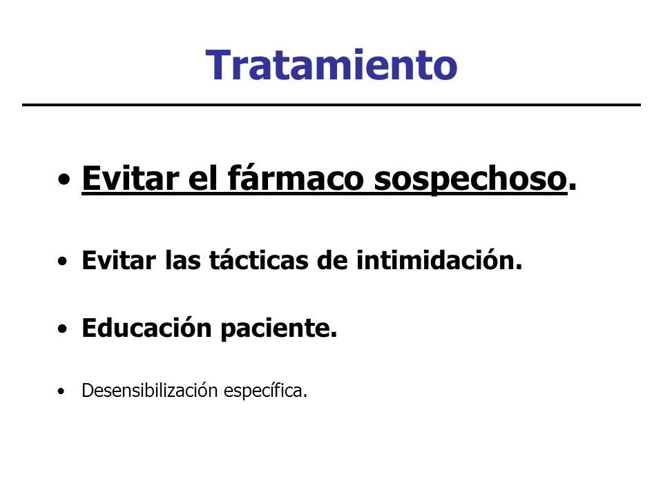 Tratamiento Evitar el fármaco sospechoso. Evitar las tácticas de intimidación. Educación paciente. Desensibilización específica.