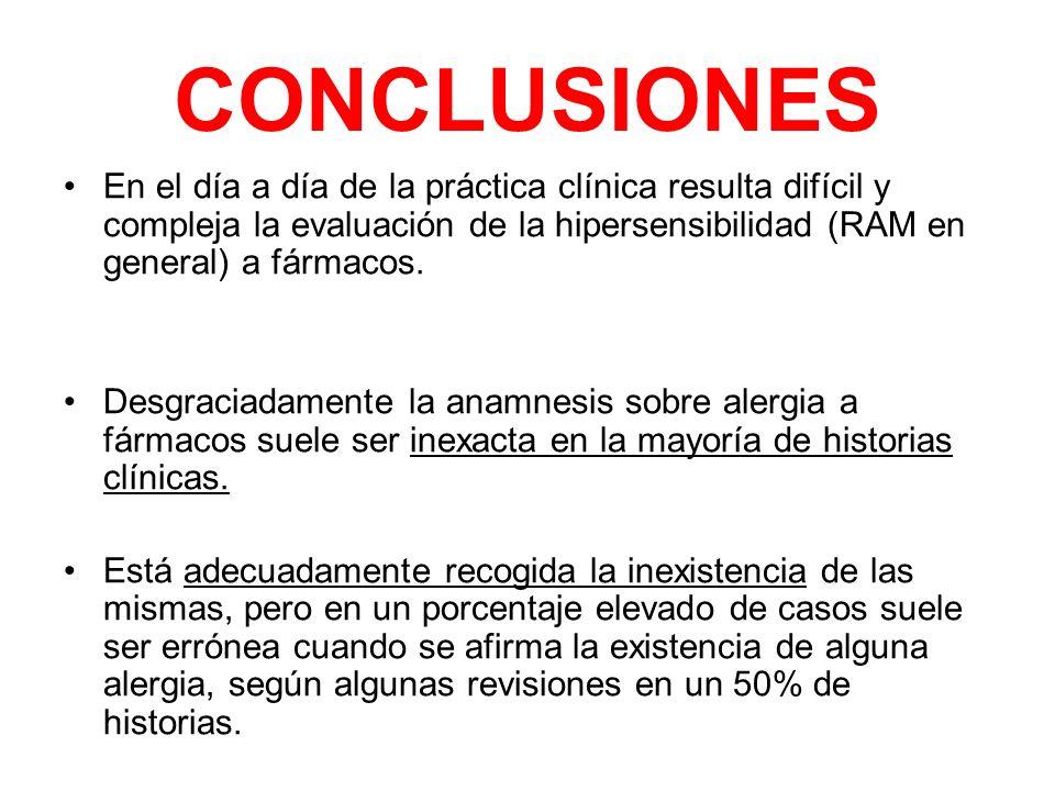 CONCLUSIONES En el día a día de la práctica clínica resulta difícil y compleja la evaluación de la hipersensibilidad (RAM en general) a fármacos. Desg