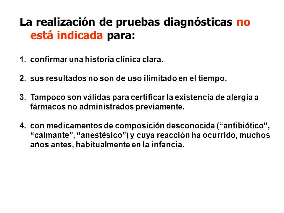 La realización de pruebas diagnósticas no está indicada para: 1.confirmar una historia clínica clara. 2.sus resultados no son de uso ilimitado en el t