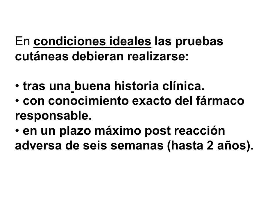 En condiciones ideales las pruebas cutáneas debieran realizarse: tras una buena historia clínica. con conocimiento exacto del fármaco responsable. en