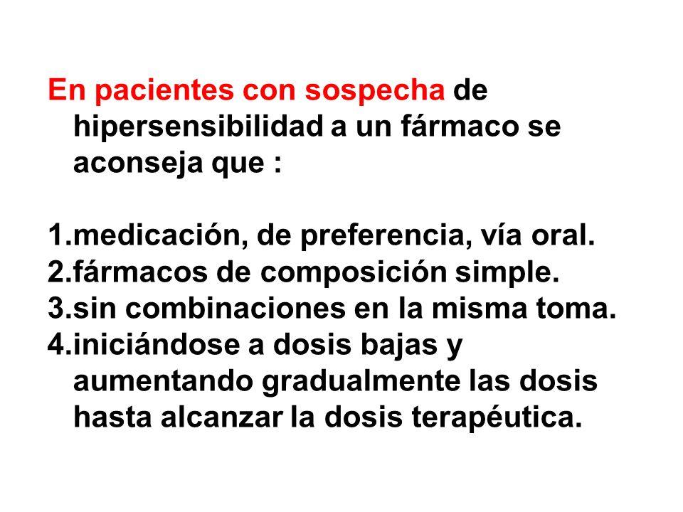 En pacientes con sospecha de hipersensibilidad a un fármaco se aconseja que : 1.medicación, de preferencia, vía oral. 2.fármacos de composición simple