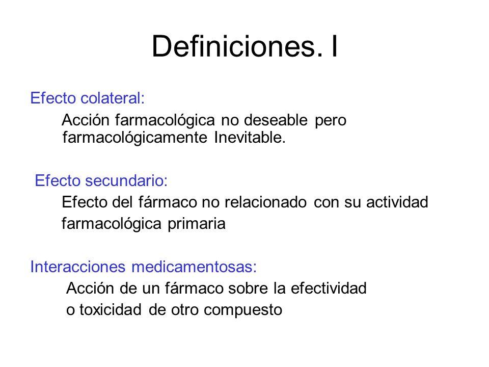 Definiciones. I Efecto colateral: Acción farmacológica no deseable pero farmacológicamente Inevitable. Efecto secundario: Efecto del fármaco no relaci