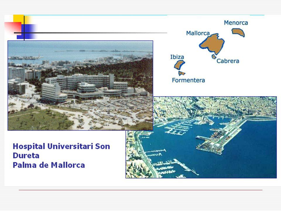 Características HUSD Hospital de III nivel 809 camas Atiende una población propia de 371.596 personas Es centro de referencia de la población de Baleares 1.062.240 (2008).