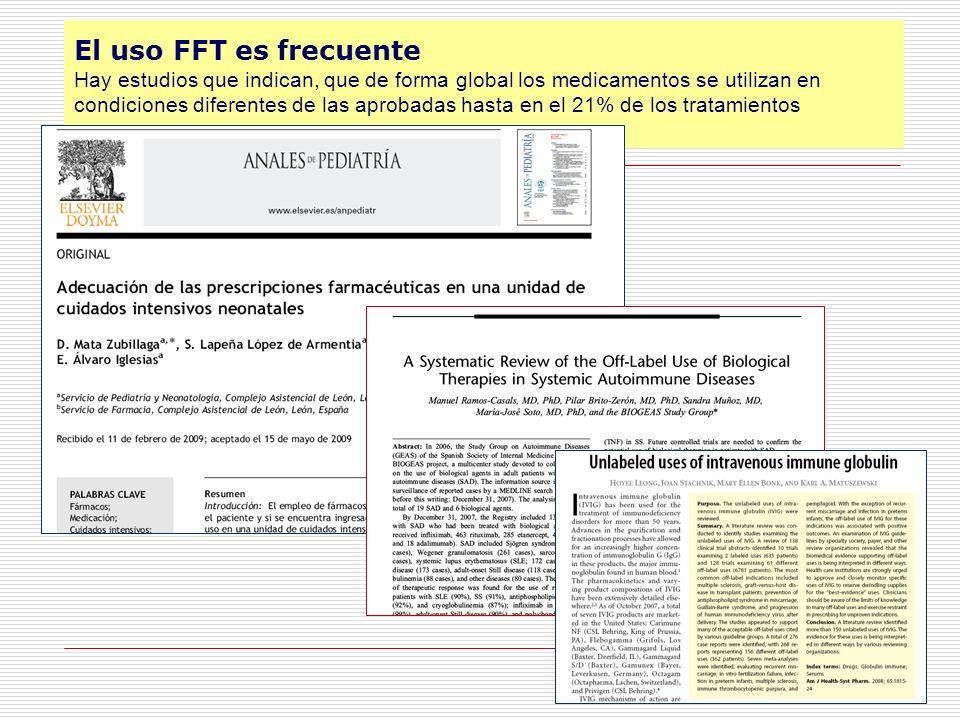 El uso FFT es frecuente Hay estudios que indican, que de forma global los medicamentos se utilizan en condiciones diferentes de las aprobadas hasta en