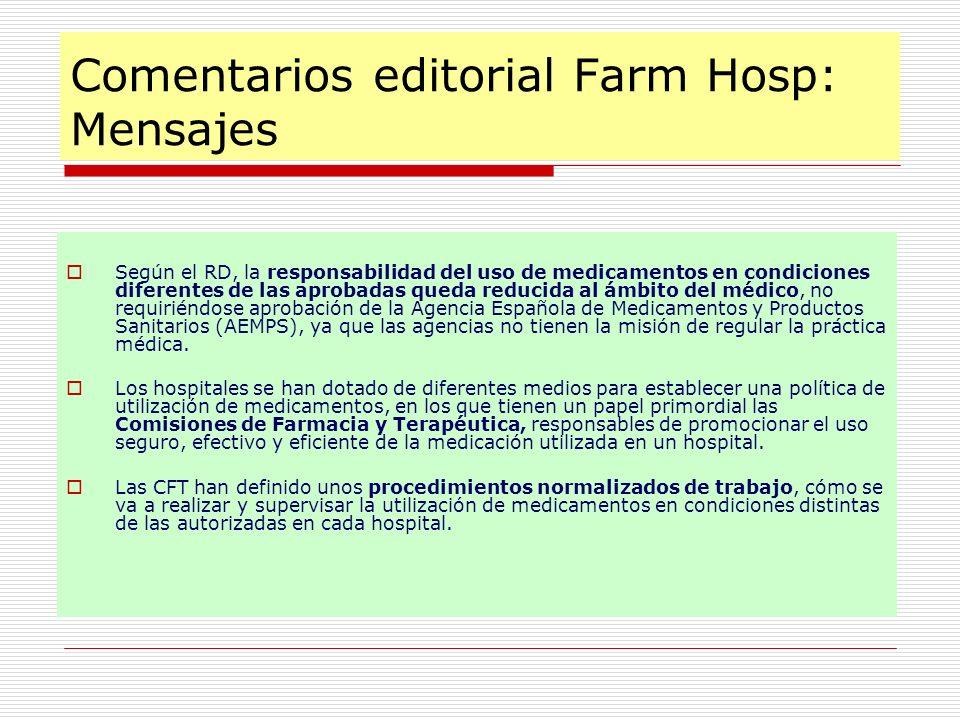 Comentarios editorial Farm Hosp: Mensajes Según el RD, la responsabilidad del uso de medicamentos en condiciones diferentes de las aprobadas queda red