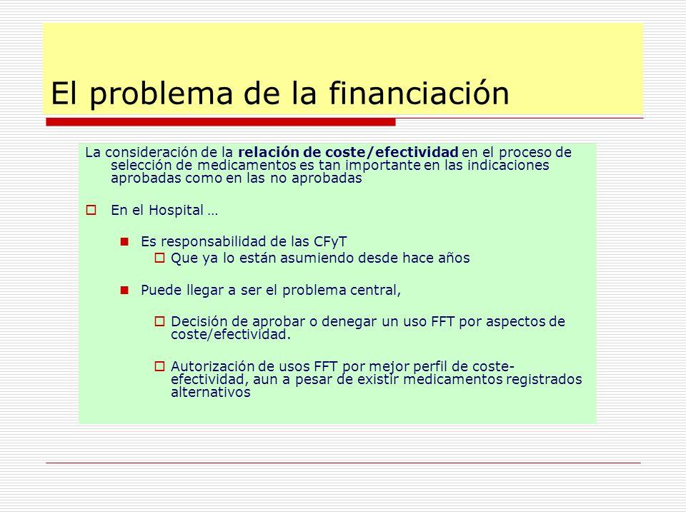 El problema de la financiación La consideración de la relación de coste/efectividad en el proceso de selección de medicamentos es tan importante en la
