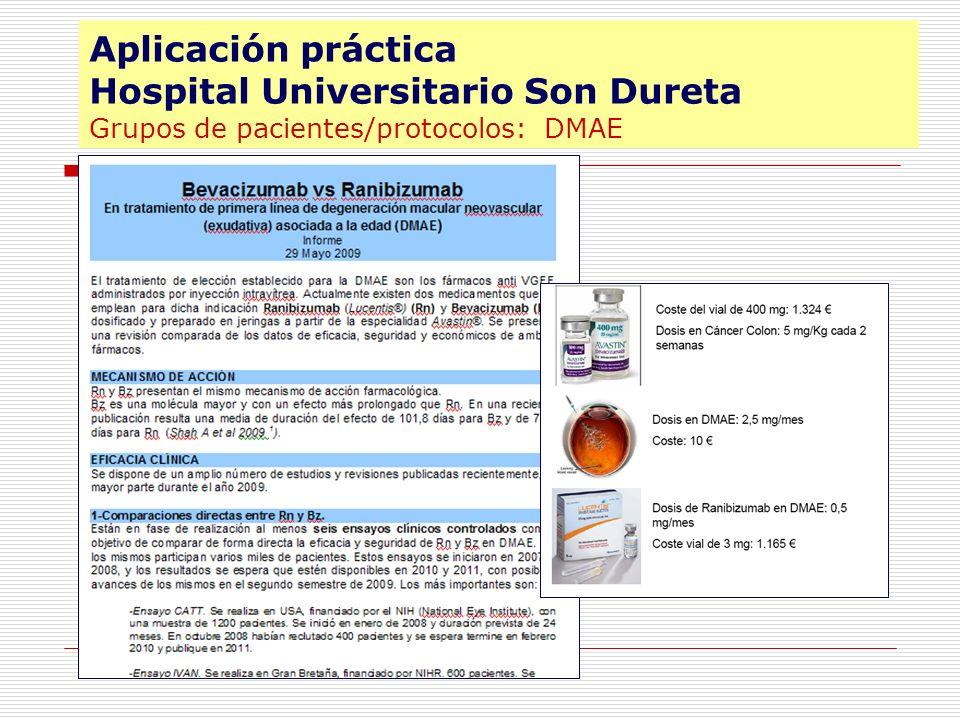 DMAE Aplicación práctica Hospital Universitario Son Dureta Grupos de pacientes/protocolos: DMAE