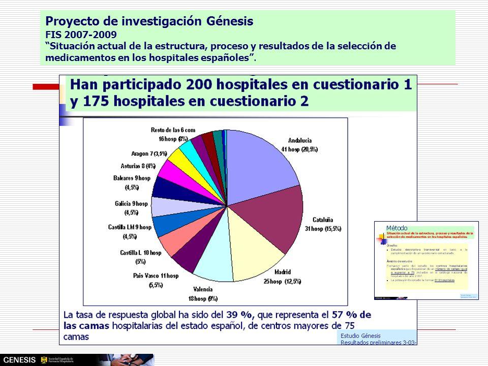 Proyecto de investigación Génesis FIS 2007-2009 Situación actual de la estructura, proceso y resultados de la selección de medicamentos en los hospita