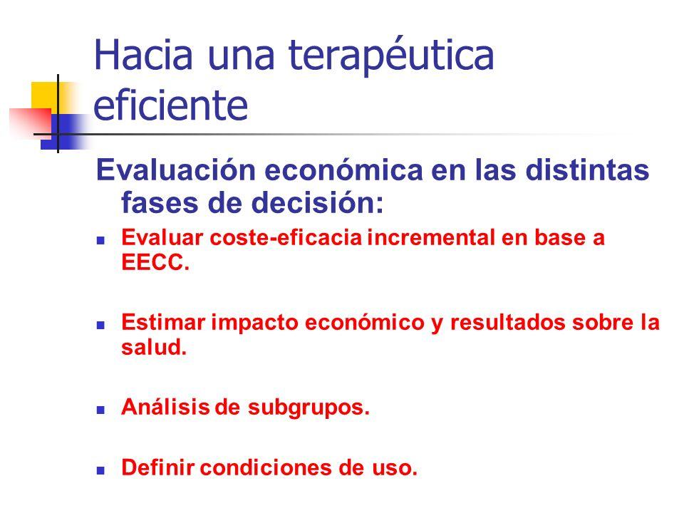 Hacia una terapéutica eficiente Evaluación económica en las distintas fases de decisión: Evaluar coste-eficacia incremental en base a EECC.