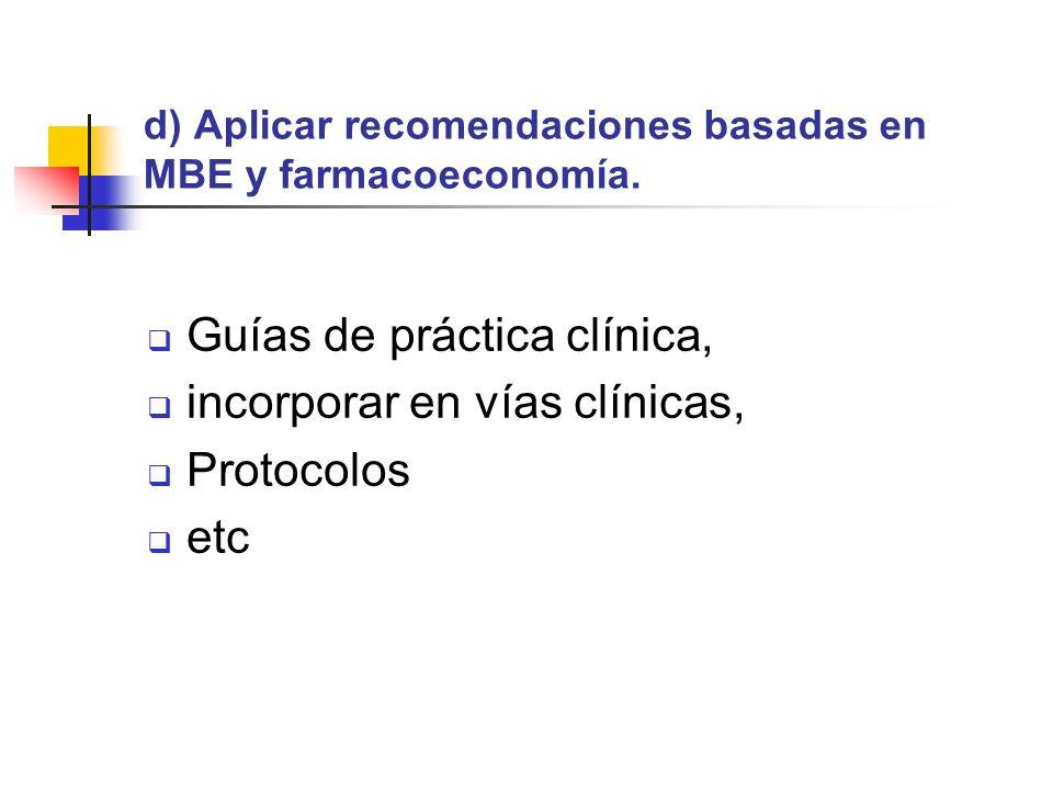 d) Aplicar recomendaciones basadas en MBE y farmacoeconomía.