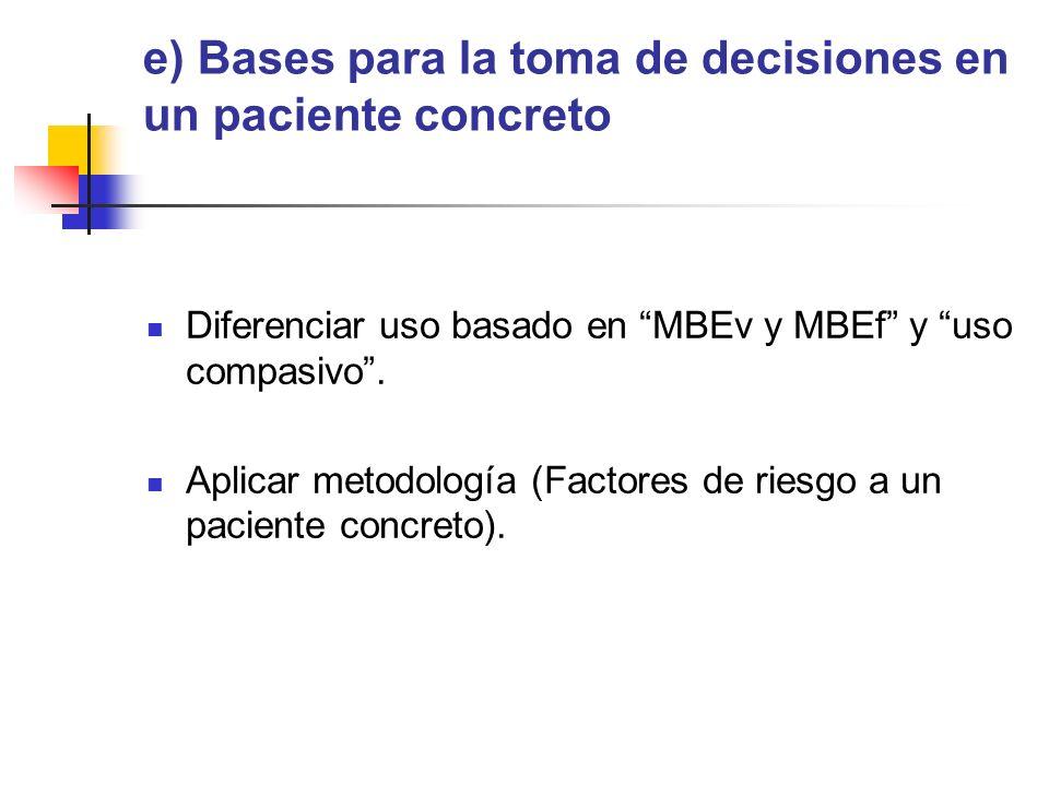 e) Bases para la toma de decisiones en un paciente concreto Diferenciar uso basado en MBEv y MBEf y uso compasivo.