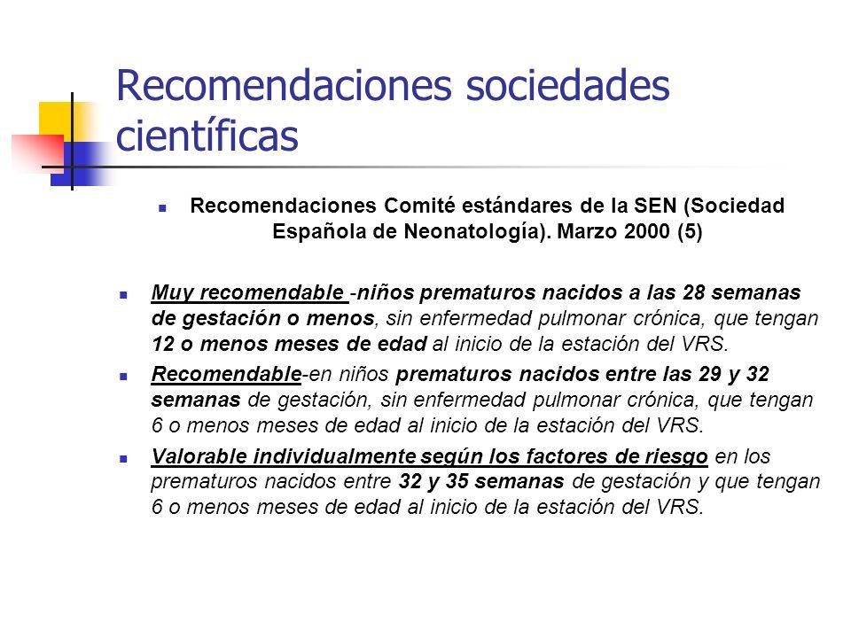 Recomendaciones sociedades científicas Recomendaciones Comité estándares de la SEN (Sociedad Española de Neonatología).