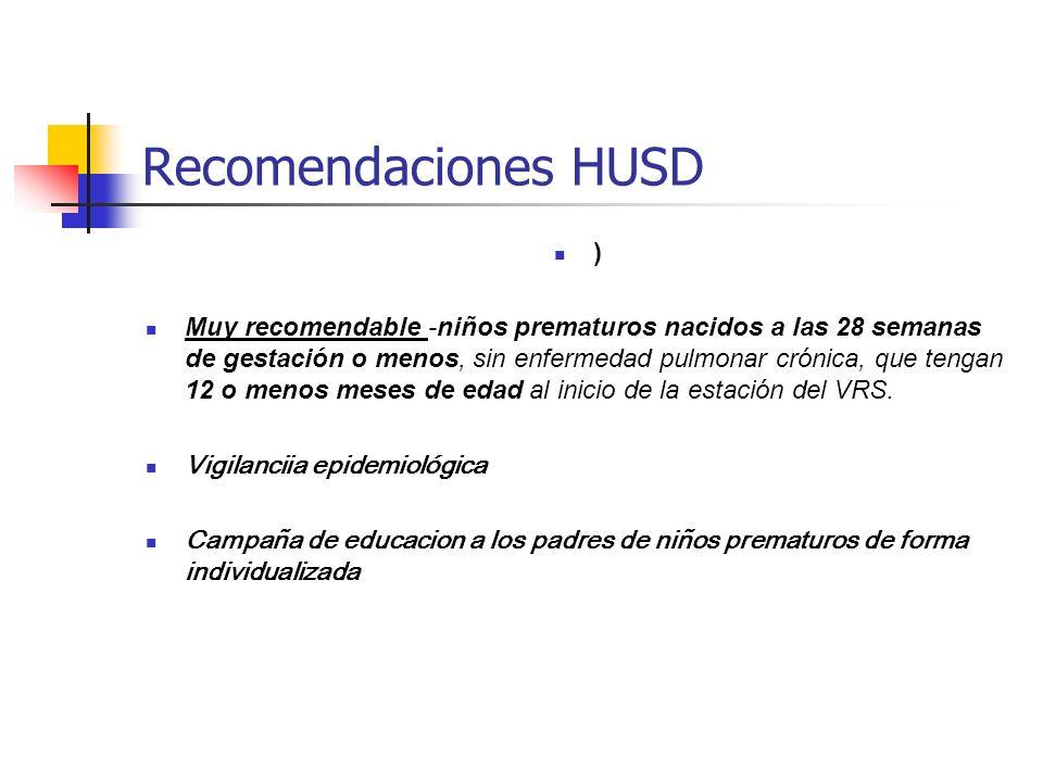 Recomendaciones HUSD ) Muy recomendable -niños prematuros nacidos a las 28 semanas de gestación o menos, sin enfermedad pulmonar crónica, que tengan 12 o menos meses de edad al inicio de la estación del VRS.