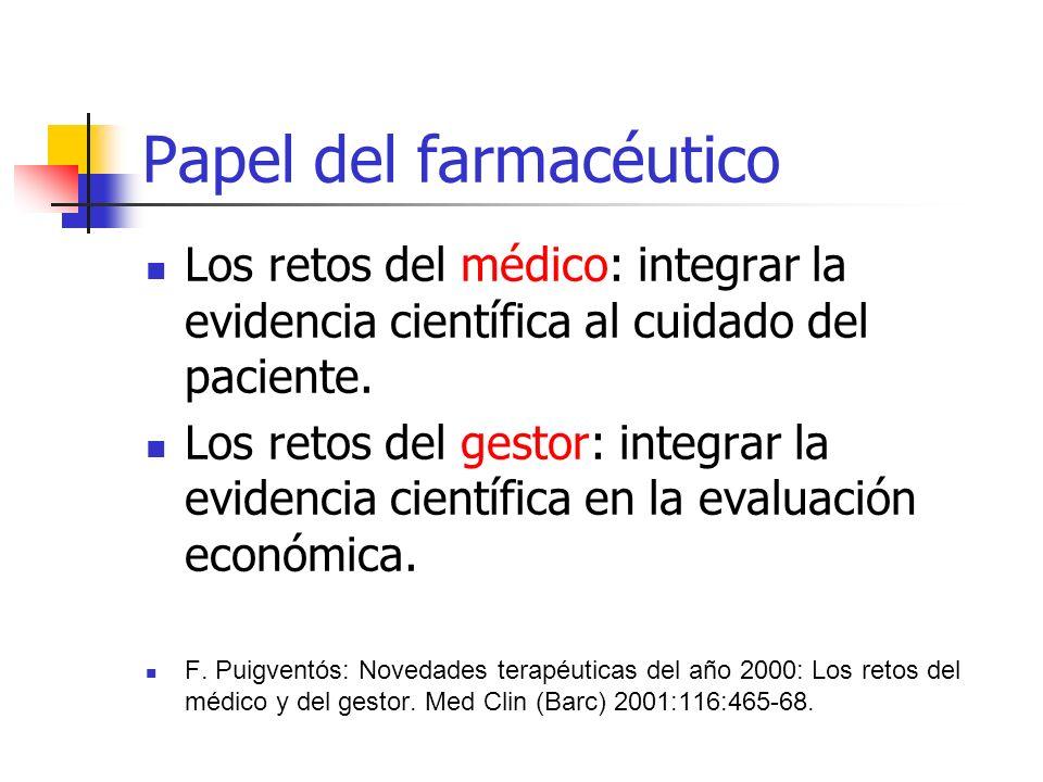 Papel del farmacéutico Los retos del médico: integrar la evidencia científica al cuidado del paciente.