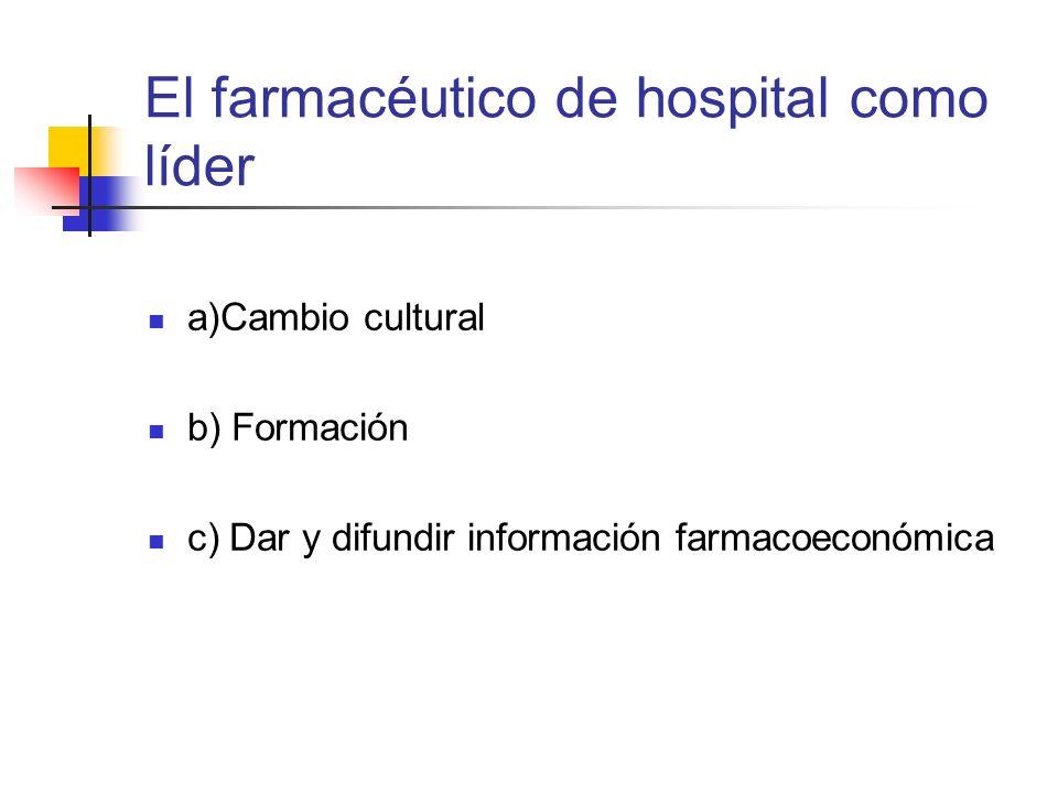 El farmacéutico de hospital como líder a)Cambio cultural b) Formación c) Dar y difundir información farmacoeconómica