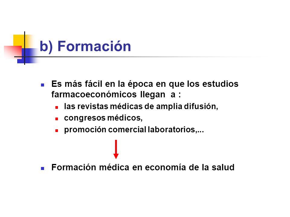 b) Formación Es más fácil en la época en que los estudios farmacoeconómicos llegan a : las revistas médicas de amplia difusión, congresos médicos, promoción comercial laboratorios,...