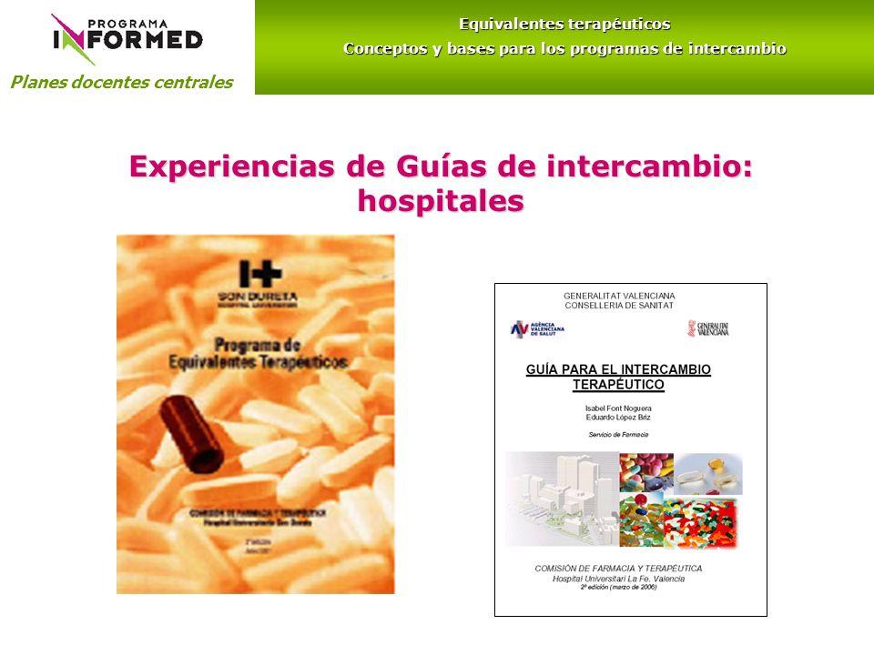 Experiencias de Guías de intercambio: hospitales Planes docentes centrales Equivalentes terapéuticos Conceptos y bases para los programas de intercambio