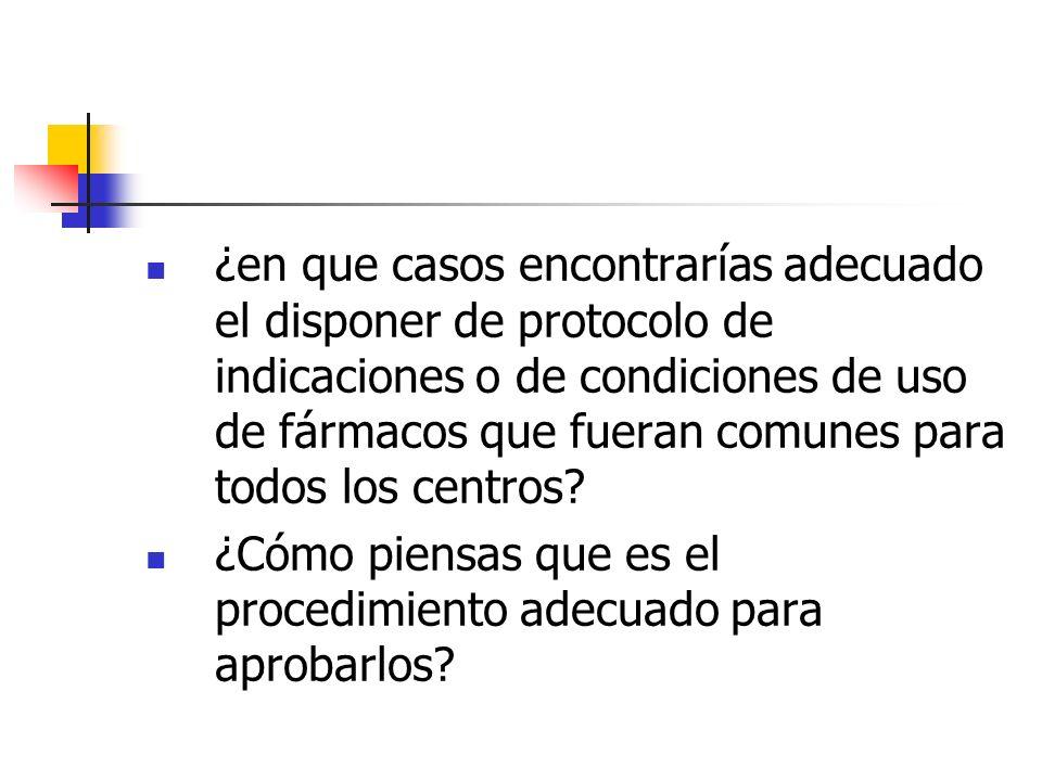 ¿en que casos encontrarías adecuado el disponer de protocolo de indicaciones o de condiciones de uso de fármacos que fueran comunes para todos los cen