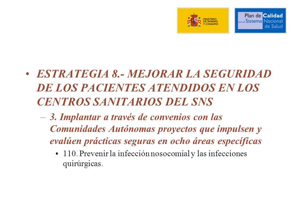 ESTRATEGIA 8.- MEJORAR LA SEGURIDAD DE LOS PACIENTES ATENDIDOS EN LOS CENTROS SANITARIOS DEL SNS –3.