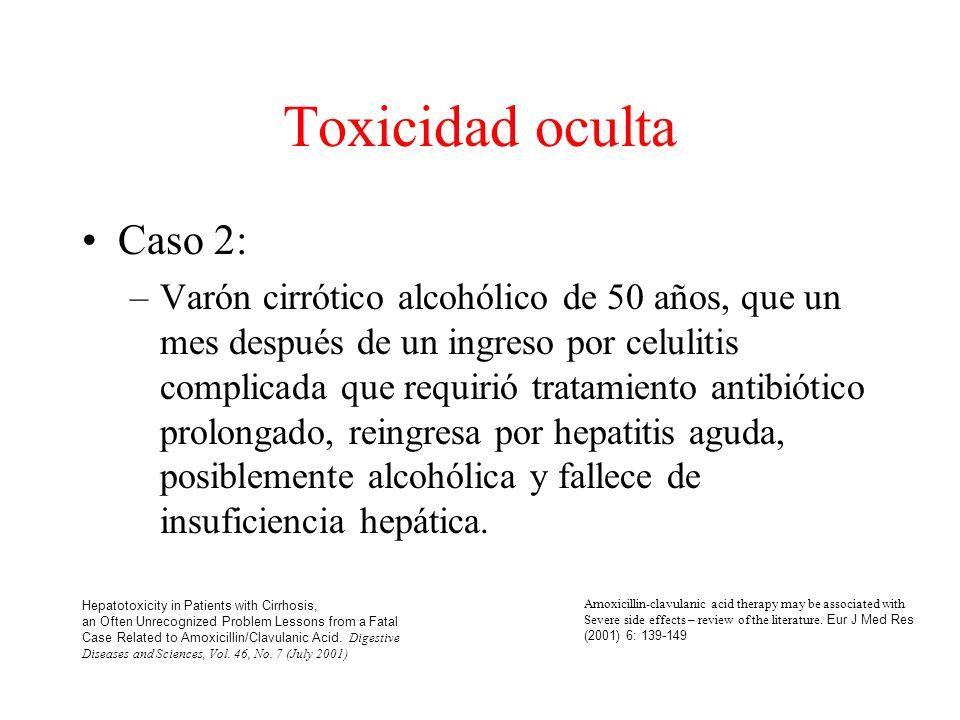 Toxicidad oculta Caso 2: –Varón cirrótico alcohólico de 50 años, que un mes después de un ingreso por celulitis complicada que requirió tratamiento antibiótico prolongado, reingresa por hepatitis aguda, posiblemente alcohólica y fallece de insuficiencia hepática.