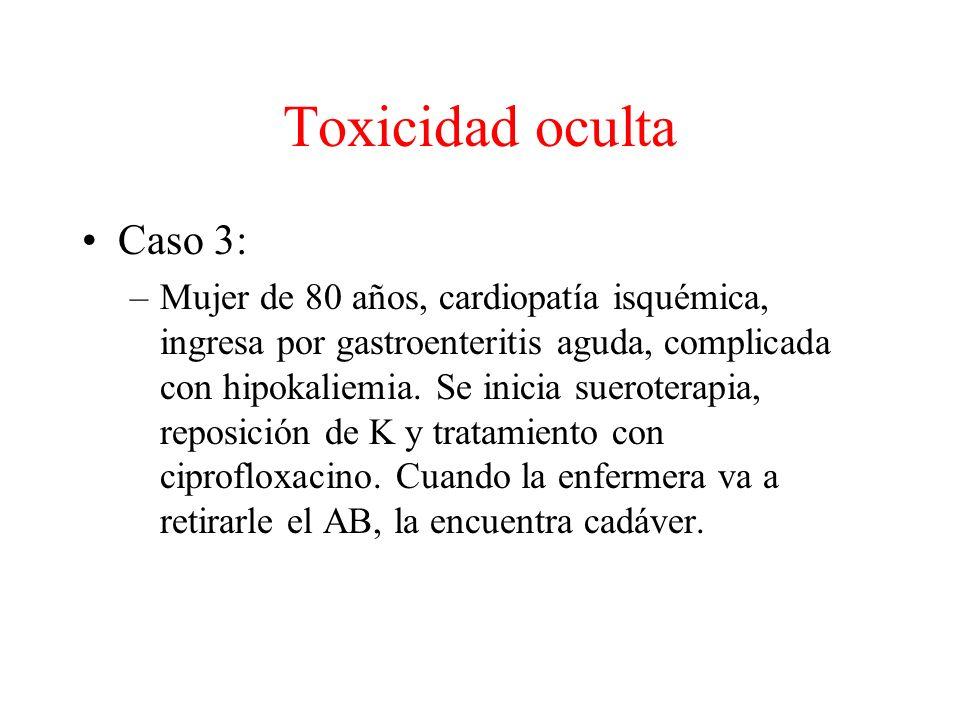 Toxicidad oculta Caso 3: –Mujer de 80 años, cardiopatía isquémica, ingresa por gastroenteritis aguda, complicada con hipokaliemia.