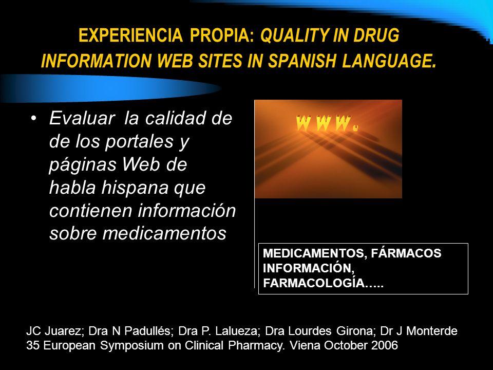 EXPERIENCIA PROPIA: QUALITY IN DRUG INFORMATION WEB SITES IN SPANISH LANGUAGE. JC Juarez; Dra N Padullés; Dra P. Lalueza; Dra Lourdes Girona; Dr J Mon