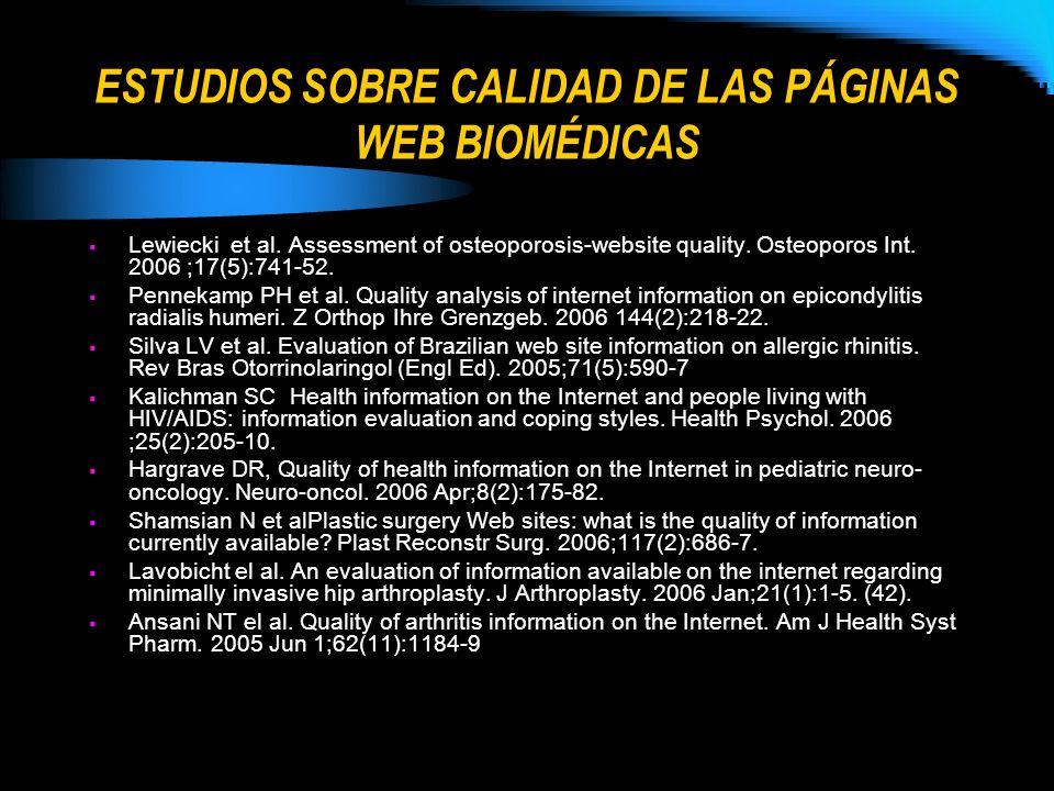 ESTUDIOS SOBRE CALIDAD DE LAS PÁGINAS WEB BIOMÉDICAS Lewiecki et al. Assessment of osteoporosis-website quality. Osteoporos Int. 2006 ;17(5):741-52. P